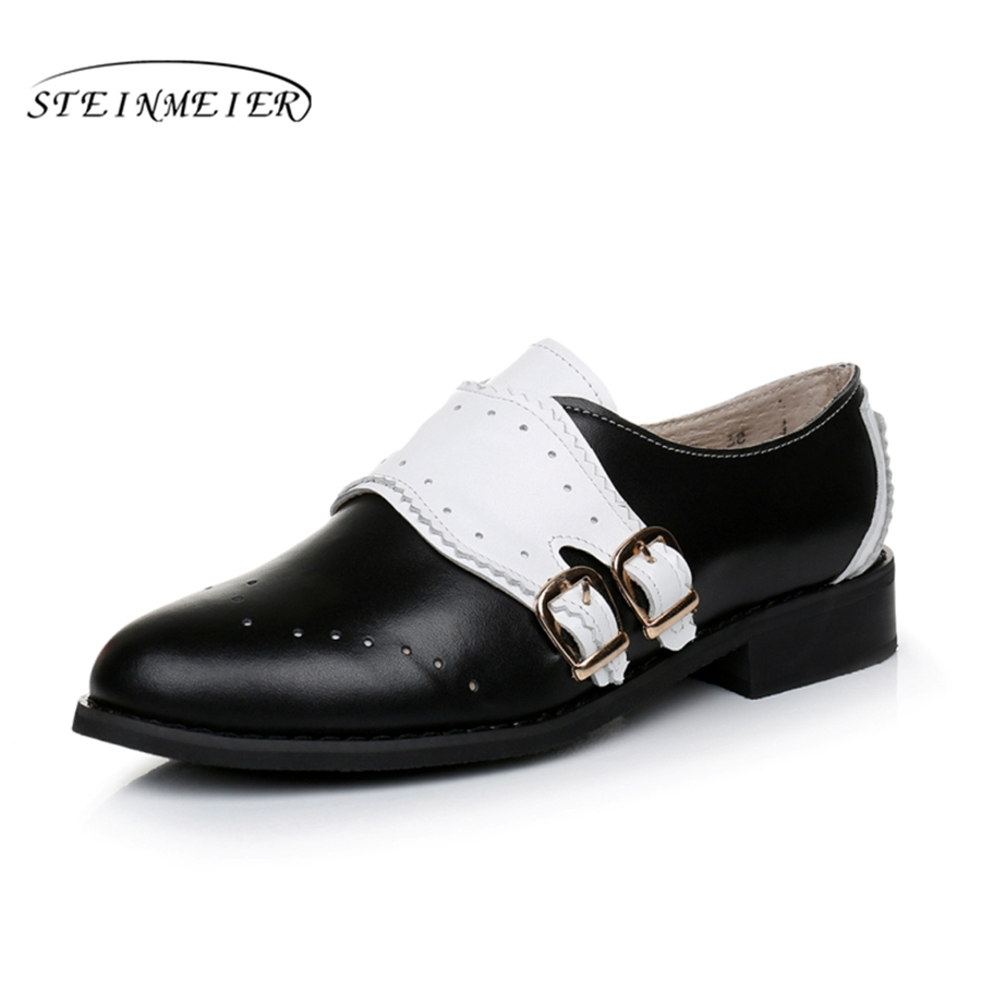 Cow leather big woman US size 9 designer vintage flat shoes round toe handmade black white oxford shoes for women fur imc vintage women flat shoes white us4 eur35 length 22 5cm