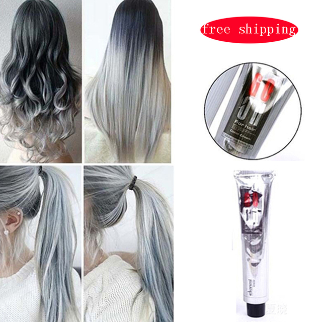 Fashion Light Gray Hair Dye Color Natural Hair Dye Permanent Cream ...
