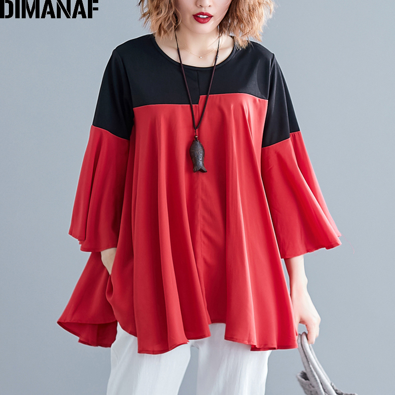 DIMANAF Plus Size Women   Blouse     Shirts   Summer Lady Tops Big Size Flare Sleeve Female Clothing Loose Casual Spliced Tunic   Shirts