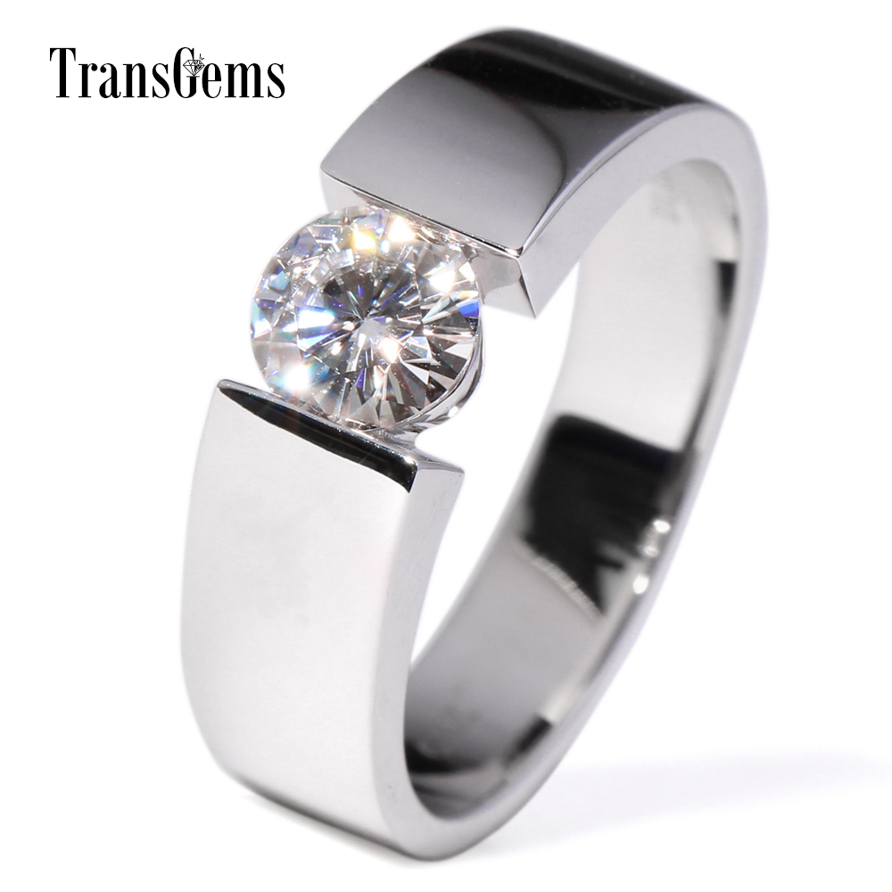 TransGems 1 Carat Lab Grown Moissanite Diamond Solitaire Wedding Band 14K White Gold Engagement Ring for Men and Women Lovers transgems 18k white gold 0 5 carat 5mm lab grown moissanite diamond solitaire pendant necklace for women jewelry wedding