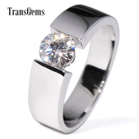 TransGems 1 Carat Lab Grown Moissanite Diamond Solitaire Wedding Band 14K White Gold Engagement Ring for Men and Women Lovers