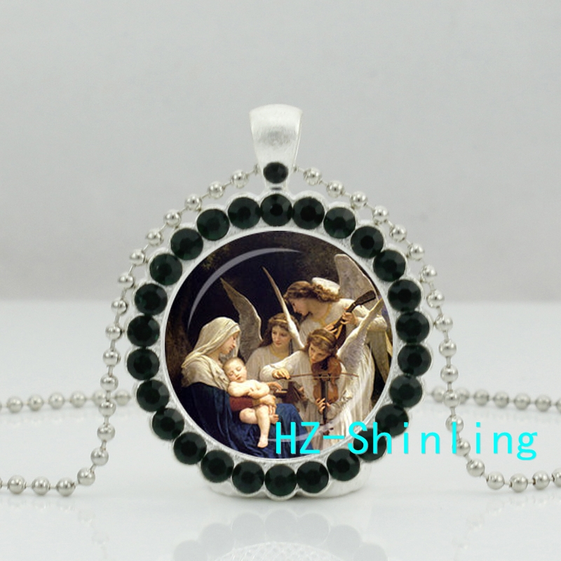 New Guardian Angel Crystal Necklace Angel Pendant Glass Spiritual Jewelry Silver Crystal Pendant Necklace HZ6