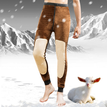 Winter Thermal Underwear Bottoms Mens Leggings Thermos Pants Male Warm Wool Cotton Thicken Underwear Trousers Men's Warm Pants Long Johns