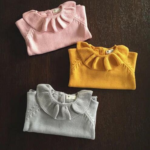 2017 Niños Niñas de la Hoja del Loto Camisa de Imprimación Suéter de Cuello Niño Lindo Bebé de Punto Suéter de Bebé Ropa de La Muchacha Envío Gratis