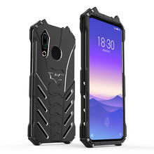 R-JUST Batman Armor Heavy Dust Rugged Outdoor Metal Aluminum Shockproof Powerful Kickstand Cover Case for MEIZU 16S