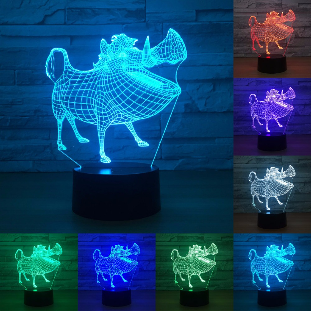 Wild Boar 7 Color Lamp 3d Visual Led Night Lights For Kids Touch Usb Table Lampara Lampe Baby Sleeping Nightlight IY803743