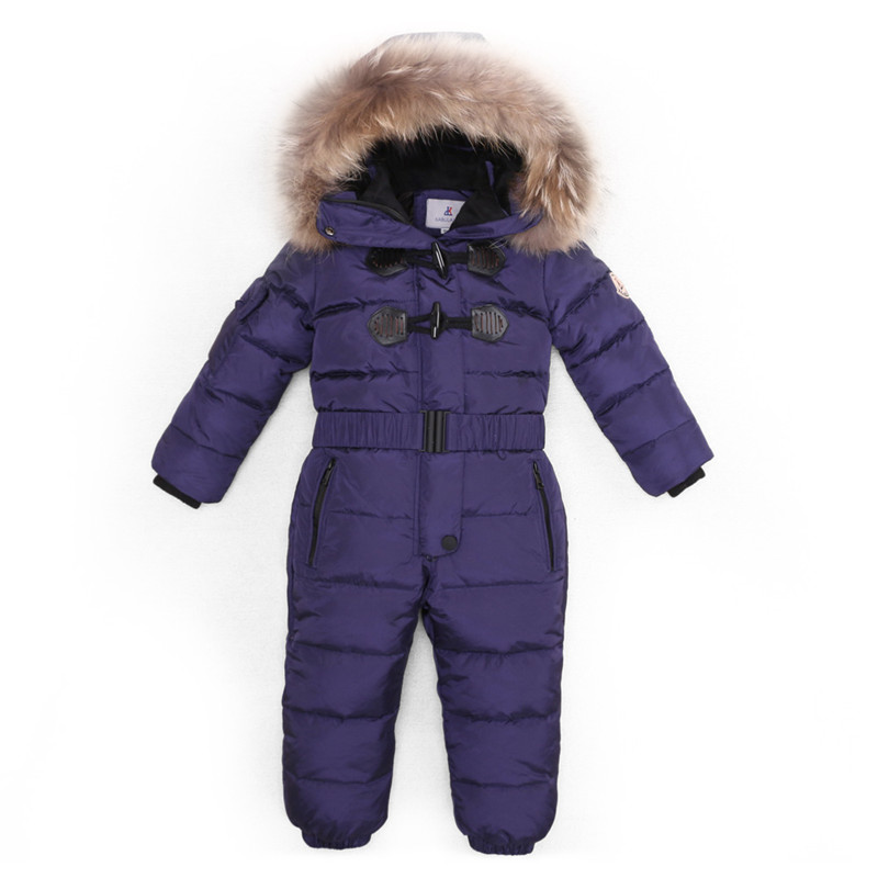 Kids Outdoor Wear Ski Suit Children Down Snowsuit Rompers With Real Fur Hood Warm Boys Girls