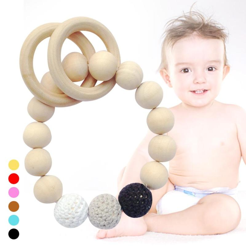 Fashion newborn safe teether Natural wood infant baby Teething toy Safe Durable Kids Teethers Circle Ring infant teether toy R4