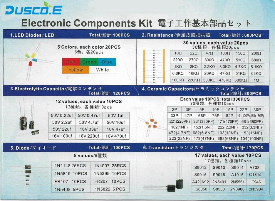 """92 ערכת רכיב אלקטרוני סה""""כ 1390 יח LED דיודות 30 ערכים נגדים 12 סוגים אלקטרוליטי קבלים לארוז-92 תיבת טרנזיסטור (2)"""