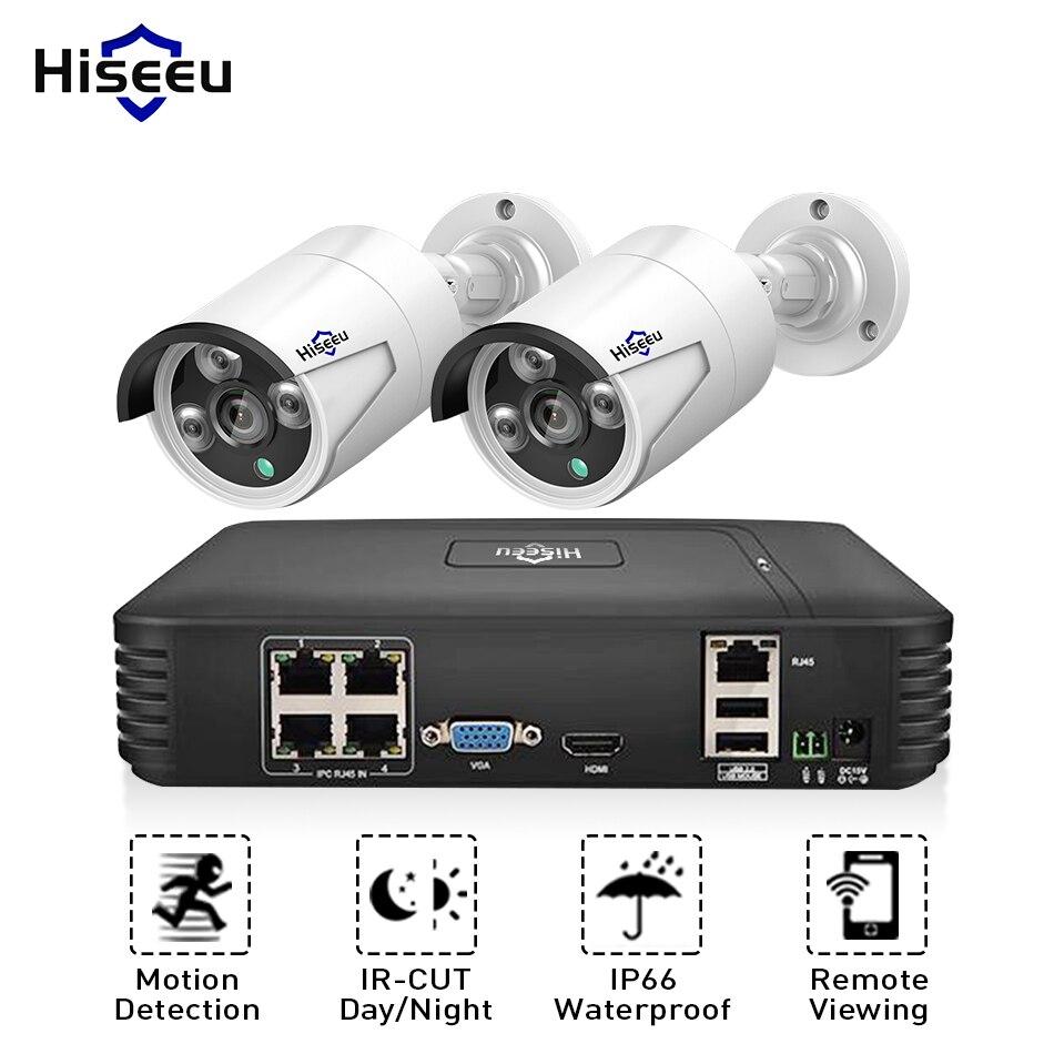 Hiseeu PoE NVR Системы IP Камера 720 P 1080 P 2 шт. металл открытый 4CH POE Комплект видеонаблюдения 15 В HDMI VGA P2P почтовое аварийное XMeye