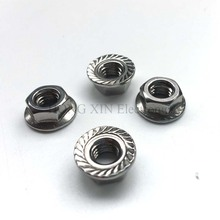 20Pcs DIN6923 M3 M4 M5 M6 M8 304 Stainless Steel Hexagon Flange Nuts Pinking Slip Locking Lock Nut