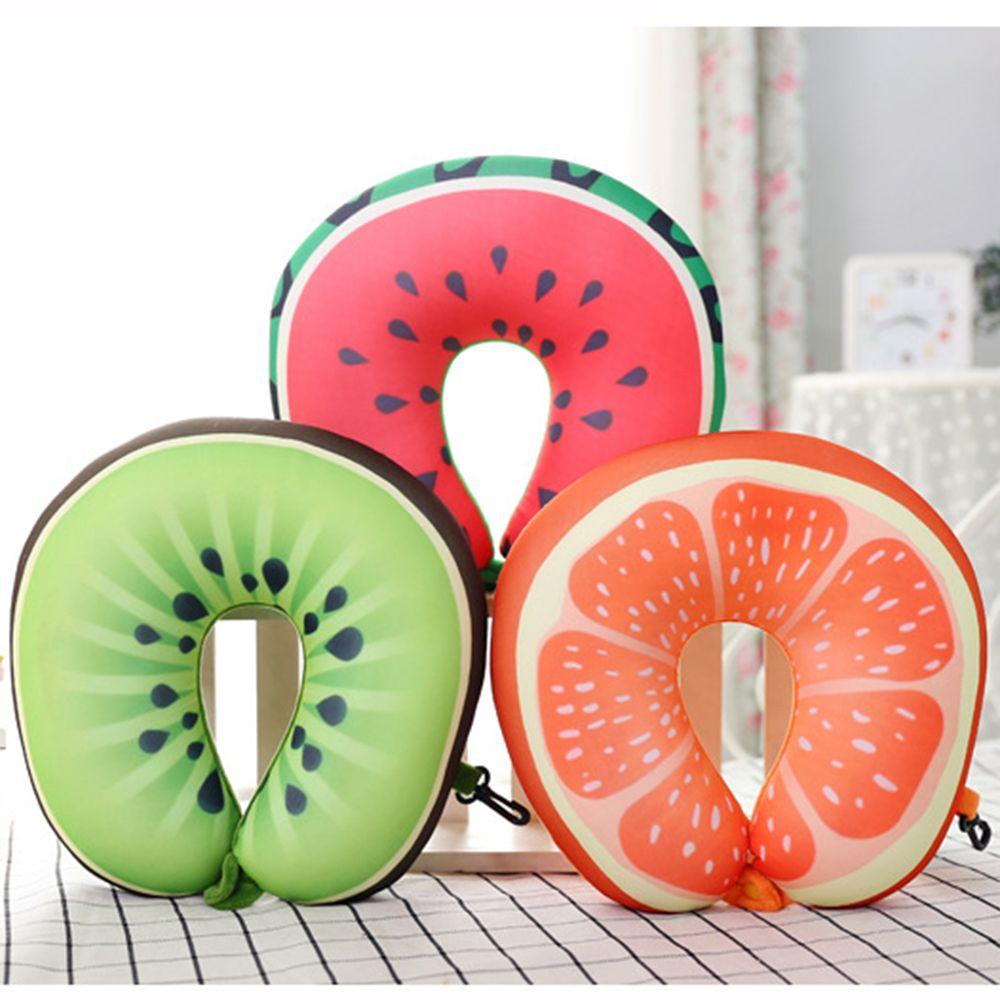 Wilskrachtig Moderne 3d Fruit Patroon Kussensloop Thuis Neksteun Hoofdsteun U Vorm Auto Kussen Voor Reizen Accessoires