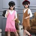 Новый Девочка Комплект Одежды Малыша Весна Осень Dress Set с длинным Рукавом Футболка + V-образным Вырезом Кисточкой Жилет Брекеты Dress Детей 2 шт.
