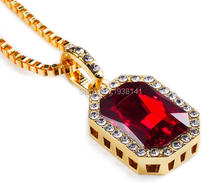 2016 New love vintage Geometric Necklace Bling Iced Out Red Ruby CZ Pendant Chain 18k Gold Square Pendant Necklace Chain