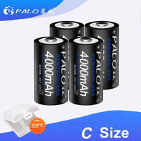 PALO-baterías recargables para cocina de Gas/coche de juguete, 4000mAh, 1,2 V, tamaño C, Ni-MH, 2-8 Uds.