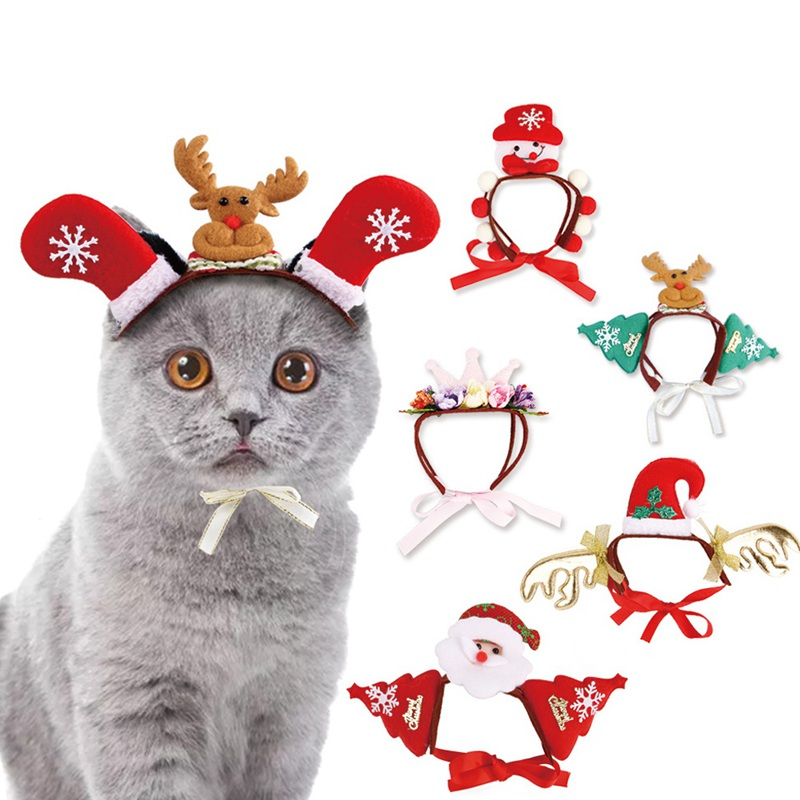 Christmas Pet Dog Cat Headwear Cute Xmas Santa Claus Elk Hair Band Puppy Kitten Christmas Party Dress Up Costume Accessory