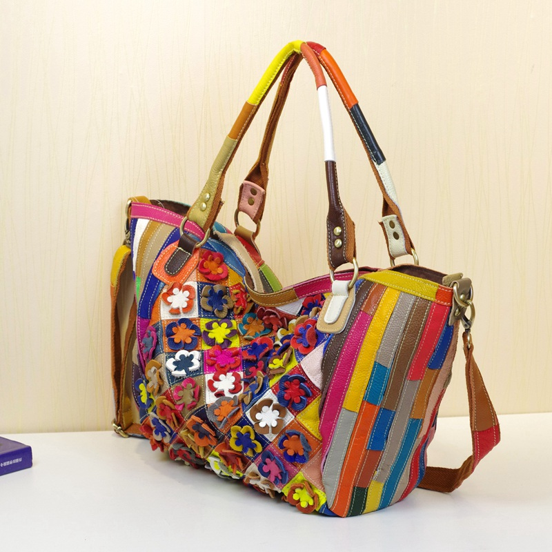 Caerlif Genuine Leather Women's Shoulder Bag Fashion Patchwork Flowers Women Cross Body Bags Colorful Tote Lady Messenger Bag caerlif brand genuine leather bag colorful stripe weave vintage national wind shoulder bags female bag women messenger bags