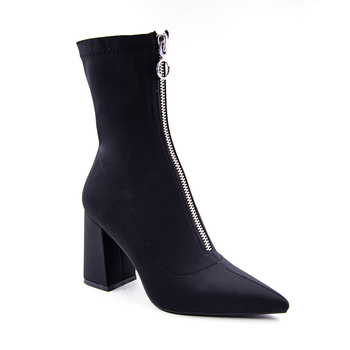 2018 Autumn New Lycra Women Boots Pointed Toe Square Heel Shoes Woman Fashion Bota Feminina Ankle boots Black purple rose red 5
