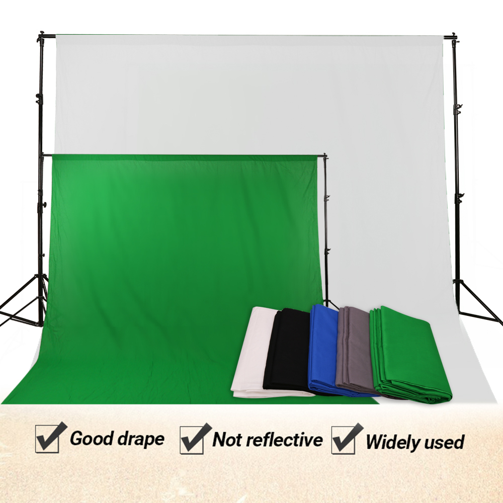 3x2m Photo Studio Background Stand Cotton Muslin Backdrops Black White Kit UK