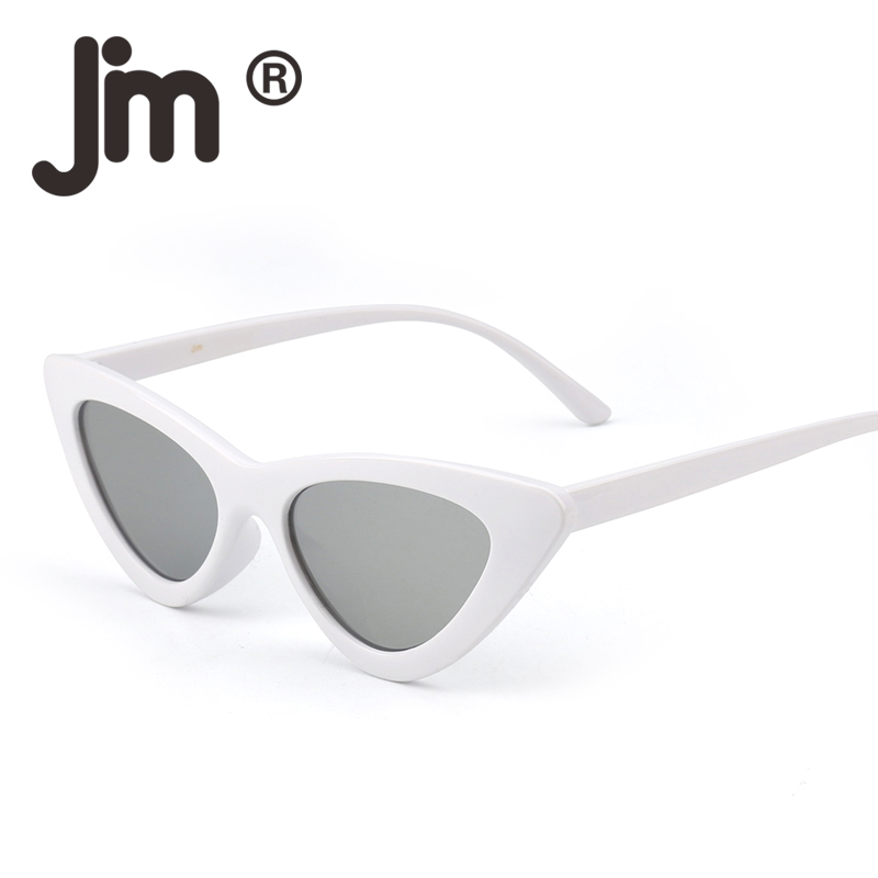 JM Wholesale 10pcs/Lot Retro Cat Eye Sunglasses Women Small Black White 2018 Triangle Vintage Cheap Sun Glasses Red Female UV400