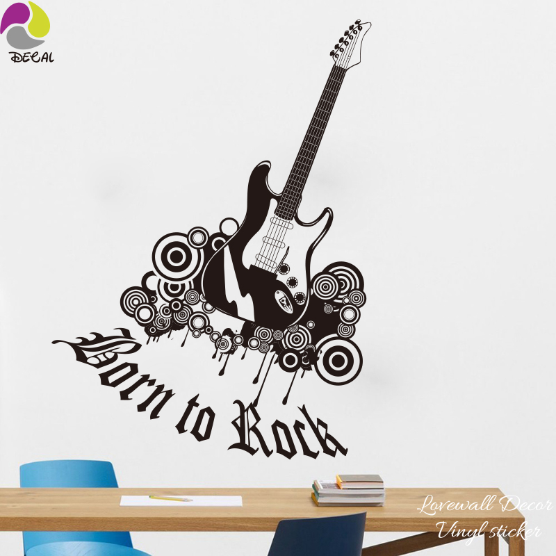 Guitar born to rock star wall sticker classic pop jazz rock band wall decalfor kids room living room vinyl home decor wallpaper in wall stickers from home