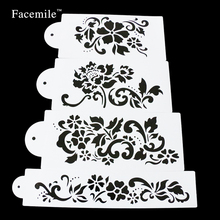 Facemile Brand New Style 4pcs/set Cake Stencil Fondant Cupcake Decorations Baking Tools For Bakeware 53038 Gift