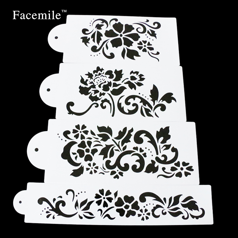 Facemile 브랜드 새로운 스타일의 4 개 / 대 케이크 스텐실 퐁당 컵 케이크 장식 베이킹 도구 오븐용 접시 53038 선물