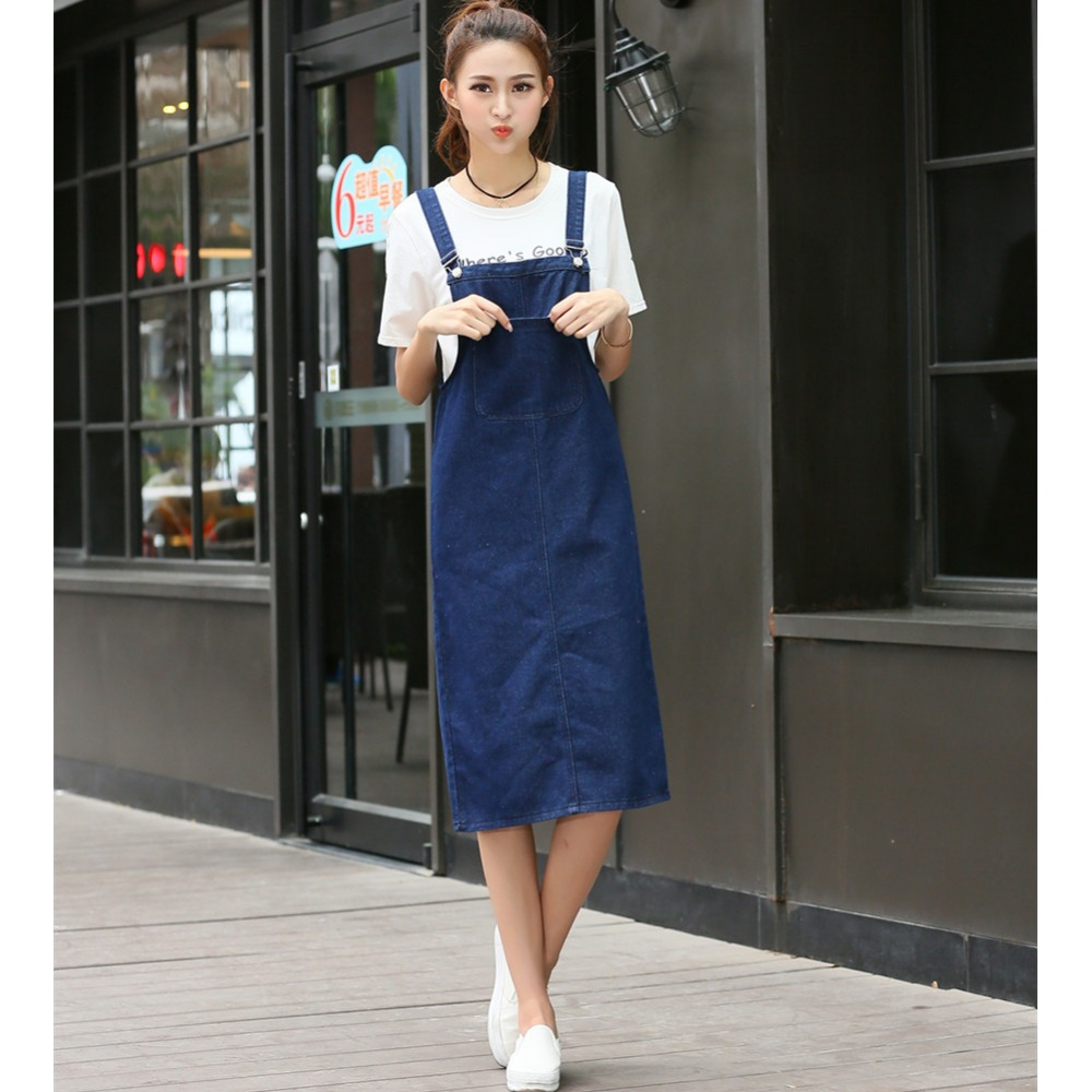 Apparel 2017 Long Women Denim Dress Female Loose Clothing Fashion Strap Jumper Sundress Jean ...