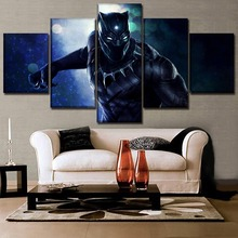 5 Panel Canvas Printed Movie Black Panther Poster Wall Art Home Decorative Painting Artwork Decor Pictures Framework