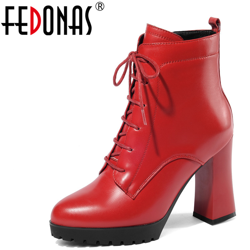 FEDONAS 1Fashion Women Ankle Boots Genuine Leather Autumn Winter Warm High Heels Shoes Cross tied Platforms
