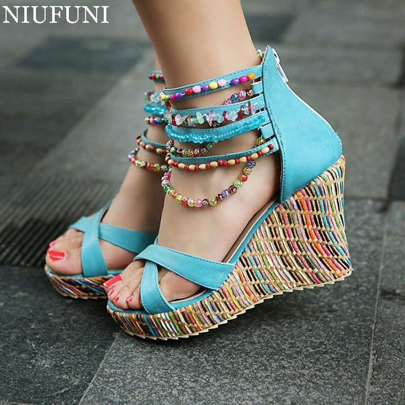 ФОТО NIUFUNI Women Sandals High Heels Fashion Wedges Heel Sandals Women Waterproof Platform String Bead Casual Beach Shoes Big Size