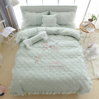 Green Bed Set Embroidery thick cotton lace Bedding Set Luxury 4/6/8PCS Doona Duvet Cover Bedclothes Bed skirt King Queen Size 28