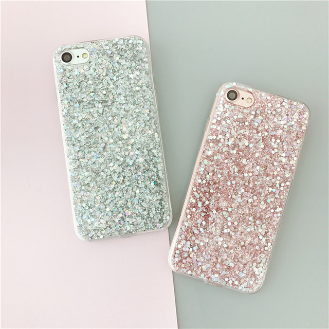 best service a0c32 d9aab LANCASE Silicone Phone Cases Coque for iPhone 8 Case Bling Glitter TPU  Crystal Sparkles Soft Cover Fundas for iPhone 8 7 Plus X