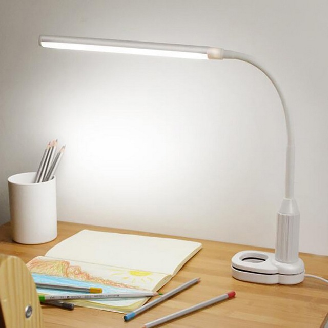 1pc Desk Lamps Usb Led Table Lamp Clip On Student Bed Reading Book Flexible Adjule Clipper Light