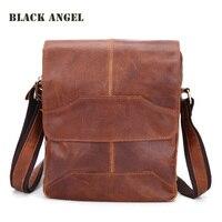 BLACK ANGEL Genuine leather bags famous design men messenger bag fashion shoulder crossbody bag for man