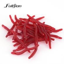 Fulljion Fishing Lures Lifelike Fishy Smell Red Soft Lures Simulation Earthworm red Worms Artificial Fishing Lure 25pcs 50pcs