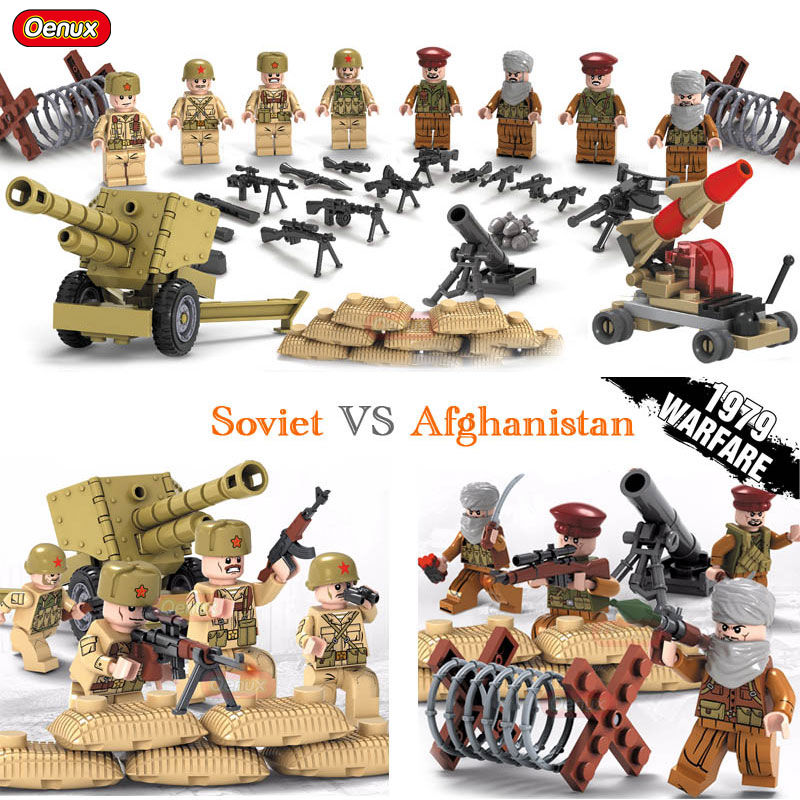 Oenux New Arrival World War II WW2 Soviet Army VS Afghan Army Soldiers Figure With Weapons Military Building Block Brick DIY Toy цена