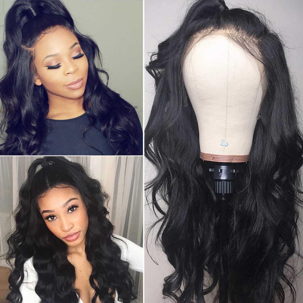 Pelucas brasileñas del pelo humano del frente del cordón de la onda del cuerpo para las mujeres Natural negro blanqueado Pre desplumado con el pelo del bebé Remy nudos blanqueados