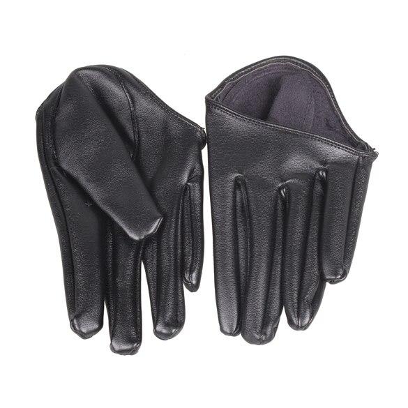 Модные популярные женские плотные перчатки на половину ладони, черные перчатки из искусственной кожи с пятью пальцами