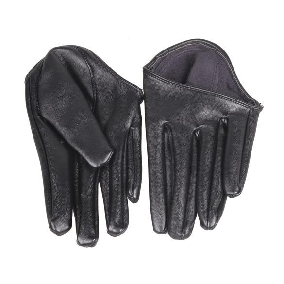 Fashion Hot Lady Woman Tight Half Palm Gloves Imitation Leather Five Finger Black