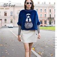 BFFUR New 2017 Fashion New Real Mink Fur Bat Sleeved Shawl Zipper Full Open Positive And