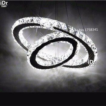 Gorąca sprzedaż diament 2 pierścień LED K9 kryształowy żyrandol LED światła nowoczesne kryształ lampy koła oprawa 100% gwarancji