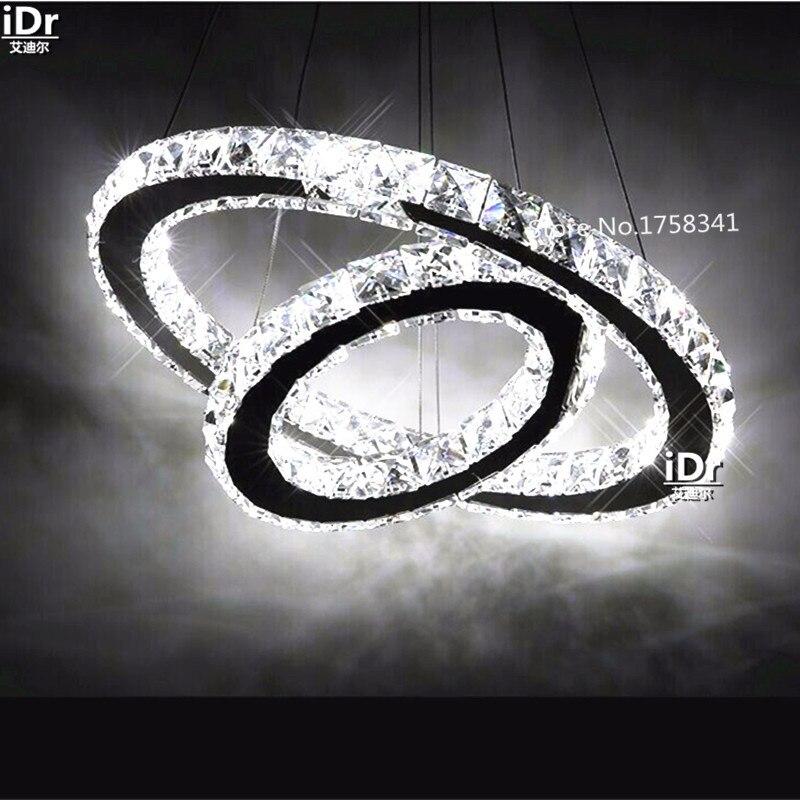 Hot sale Diamond 2 Ring LED K9 Crystal LED Chandelier Light Modern Crtstal lamp Circles fixture 100% Guarantee