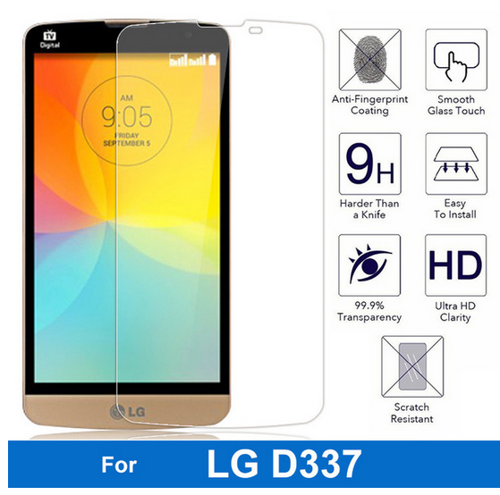 2.5D 0.3mm tempered glass For LG D335 L Bello Dual D331 L Prime D337 screen protector guard film front case cover +clean kits