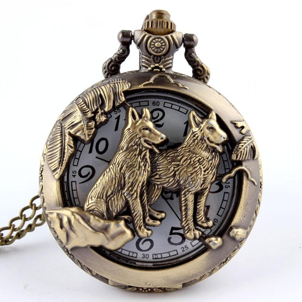 Bronce antiguo Diseño Simple Hollow Wolf Esqueleto Reloj de Bolsillo Collar Cadena Reloj de Cuarzo Mujeres Hombres Regalos Relogio De Bolso