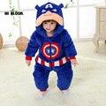 Marca Primavera Invierno de la Franela del Bebé Capitán América Traje Onesie Pijamas Romper Mono Mono de Escalada Espesar Ropa de Bebé