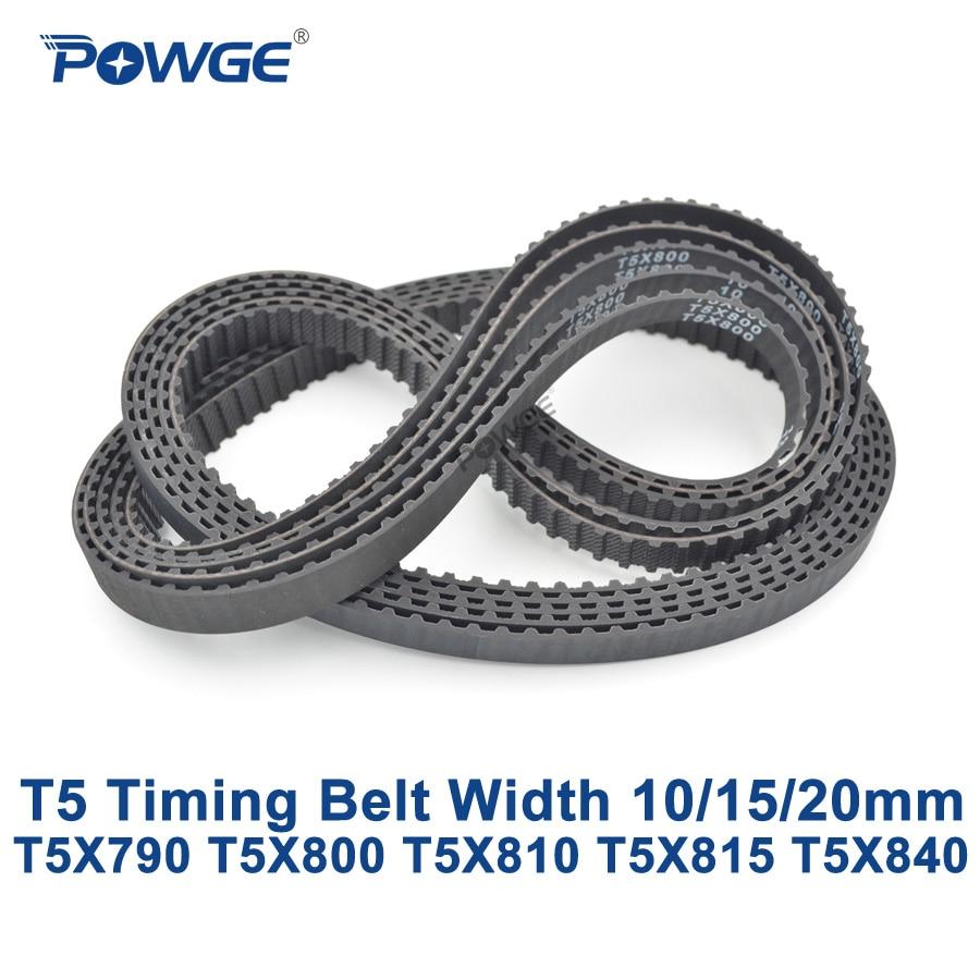 POWGE T5 Synchronous timing belt C=790/800/810/815/840 Width 10/15/20mm Teeth 158 160 162 163 168 Rubber T5X800 T5X810 T5X840