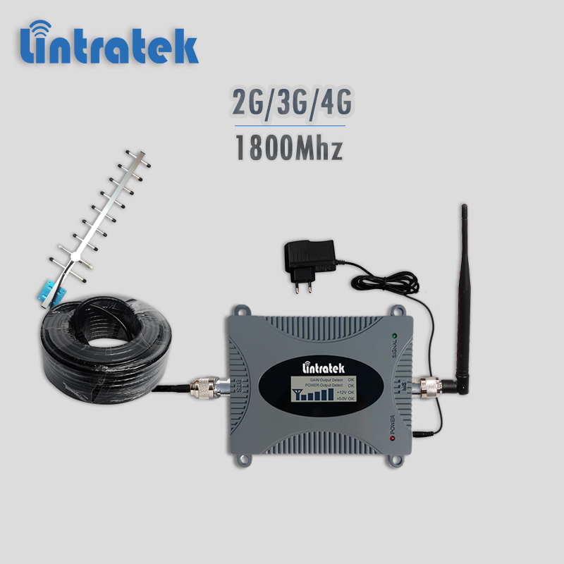 Lintratek celullar signal repeater gsm 1800 umts lte 1800 cellphone signal booster 2g 3g 4g celullar repeater with full kit #7.2