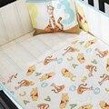 4 PCS bordado menino do bebê berço berço cama conjunto, Incluem ( bumper + edredon + folha + travesseiro )