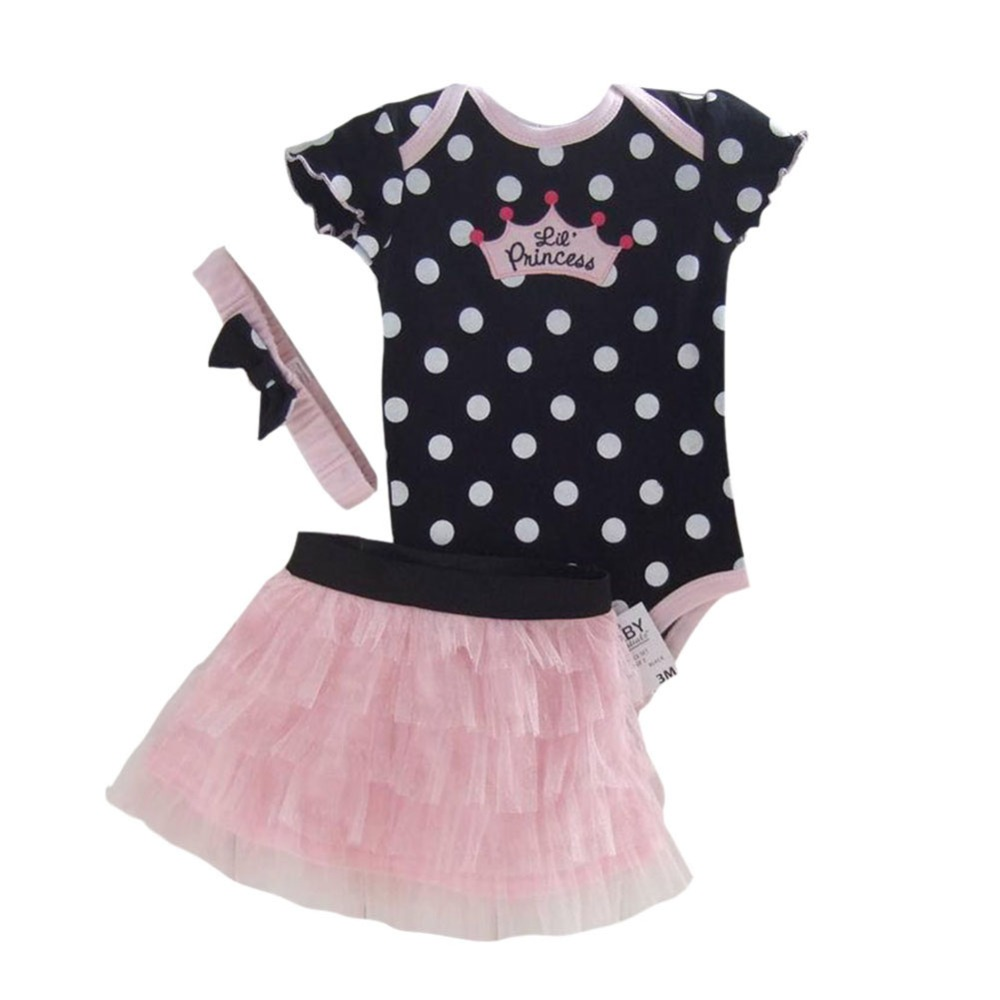 Retail Baby Clothing Set Baby Girl Clothes 3 pcs Sets Romper +Tutu Skirt + Headband 3pcs Sets Polka-dot Princess Tutu Dress 1set baby girl polka dot headband romper tutu outfit party birthday costume 6 colors